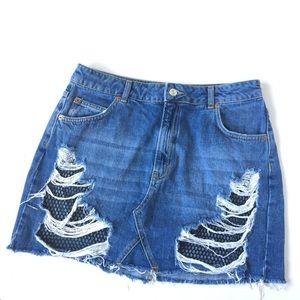 Topshop destroyed denim mini skirt